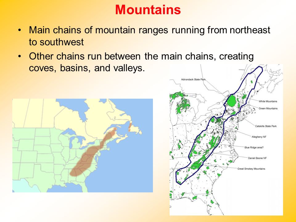 Mountains Main chains of mountain ranges running from northeast to southwest.