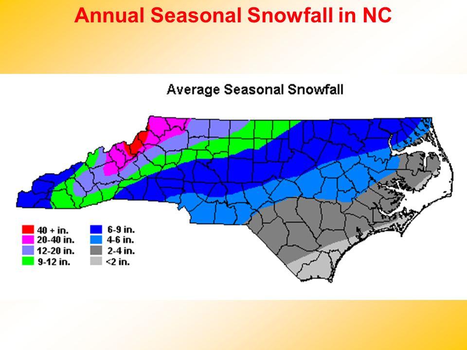 Annual Seasonal Snowfall in NC