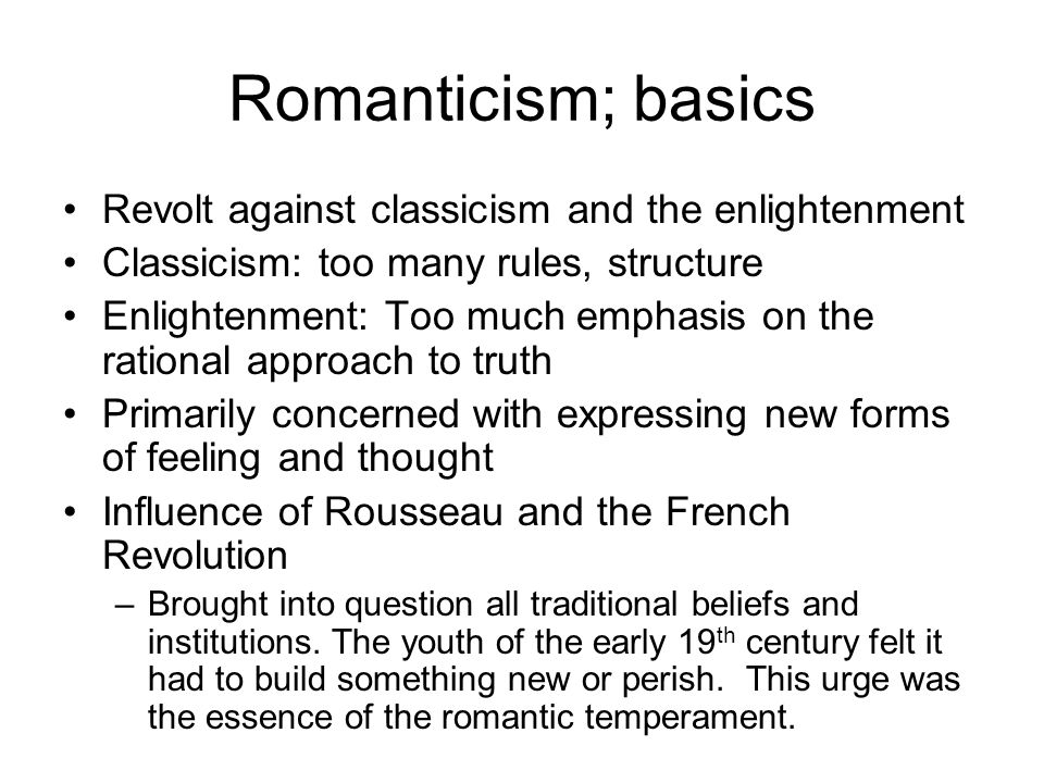 romanticism seemed to be your personal exercise categorized by