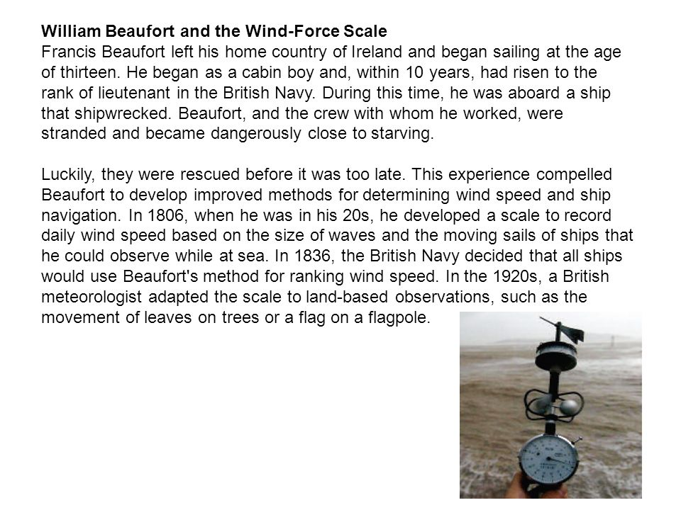 William Beaufort and the Wind-Force Scale