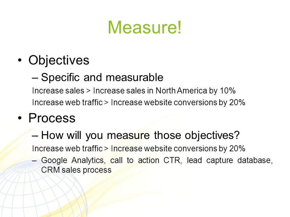 Measure! Objectives Process Specific and measurable