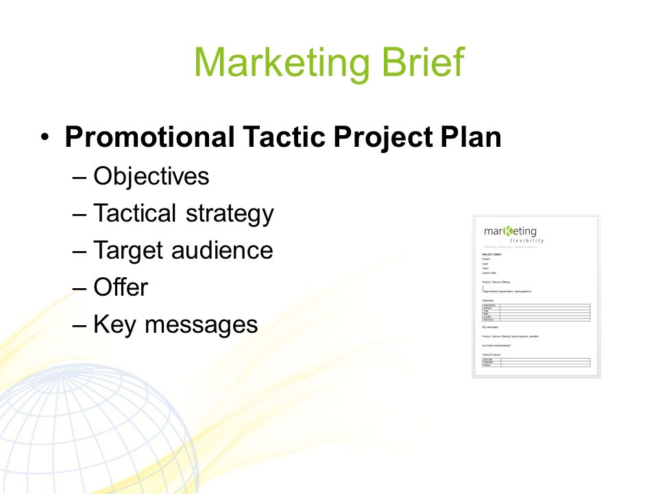 Marketing Brief Promotional Tactic Project Plan Objectives