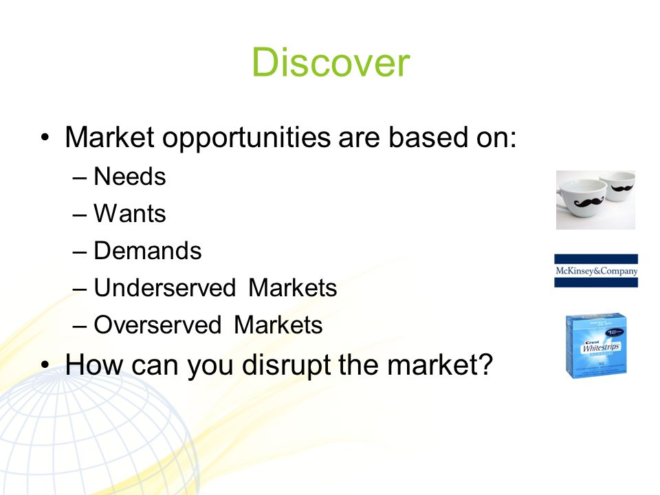 Discover Market opportunities are based on: