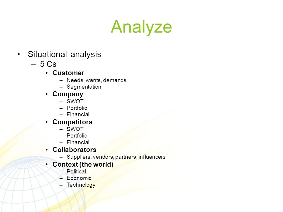 Analyze Situational analysis 5 Cs Customer Company Competitors