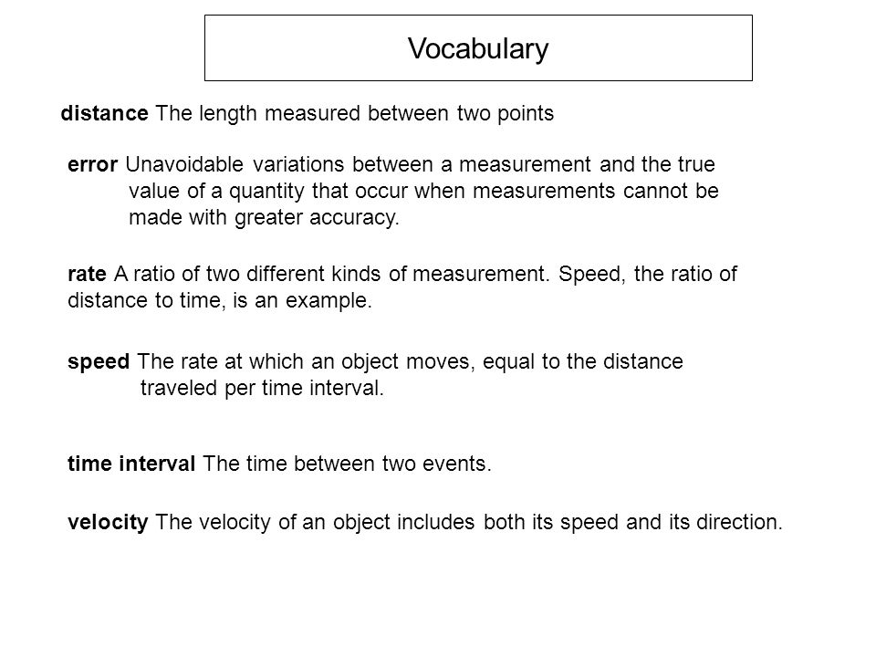 Vocabulary distance The length measured between two points