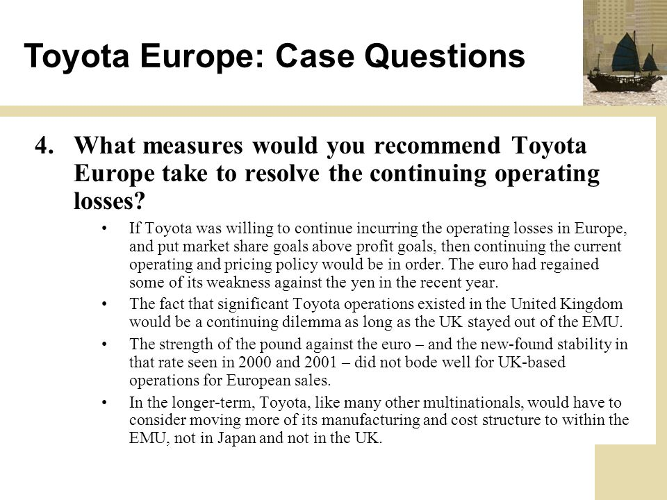 toyota european operating exposure Vw's operating profit, which does the year thanks to demand from abroad and a low exposure to supply-chain problems toyota some european carmakers such as.