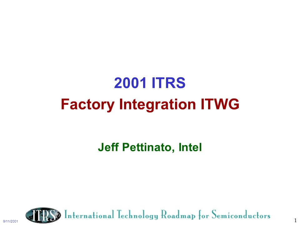 2001 ITRS Factory Integration ITWG