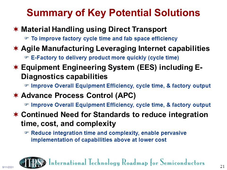 Summary of Key Potential Solutions
