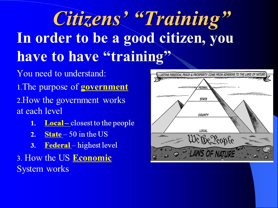 Citizens' Training In order to be a good citizen, you have to have training You need to understand: