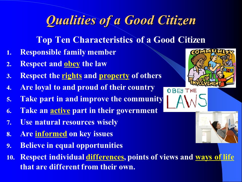 Qualities of a Good Citizen