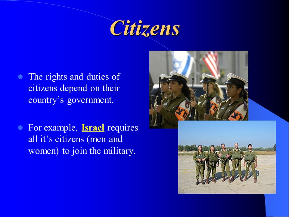 Citizens The rights and duties of citizens depend on their country's government.