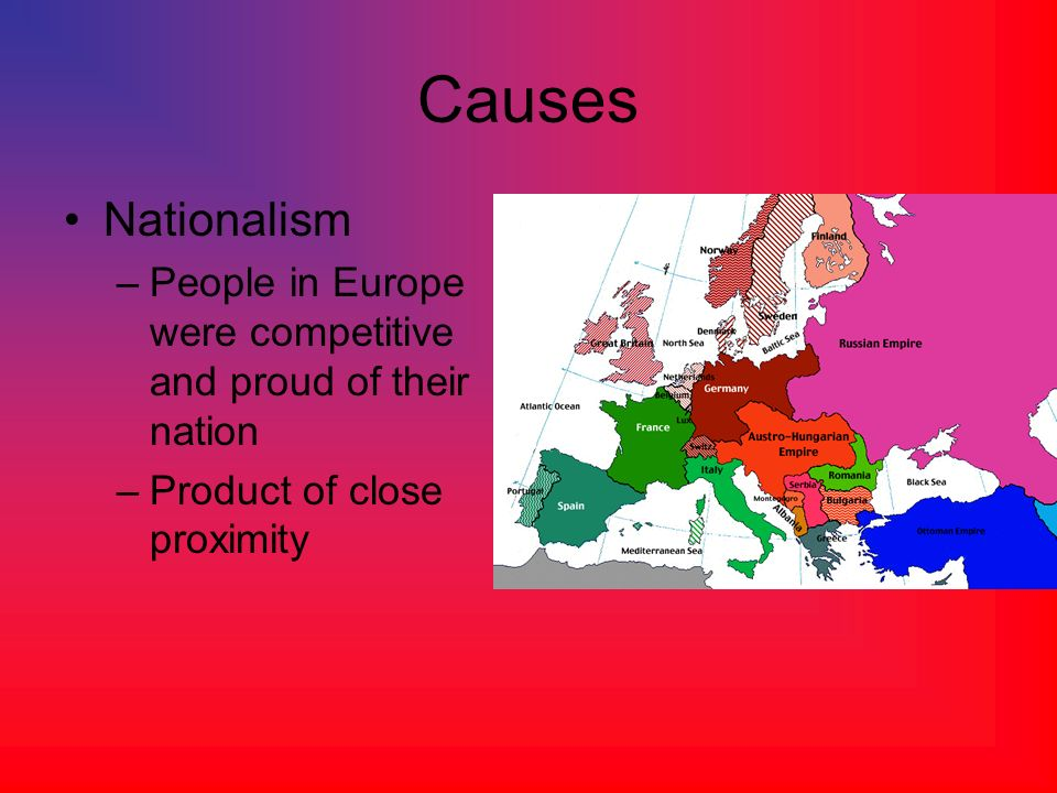 Causes Nationalism. People in Europe were competitive and proud of their nation.