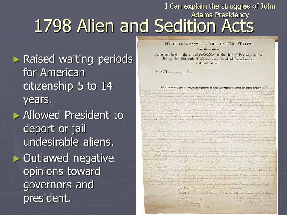the alien and sedition acts of 1798 essay The alien and sedition acts were four bills passed by the federalist-dominated 5th united states congress and signed into law by president john adams in 1798 he was indicted in 1800 for.