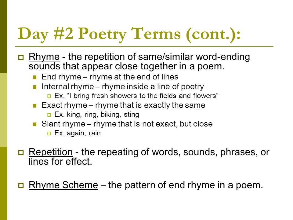 Day #2 Poetry Terms (cont.):