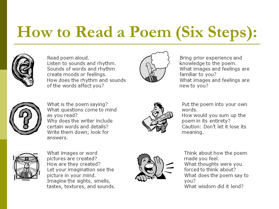 How to Read a Poem (Six Steps):