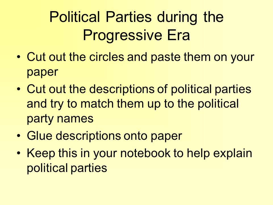 Political Parties during the Progressive Era