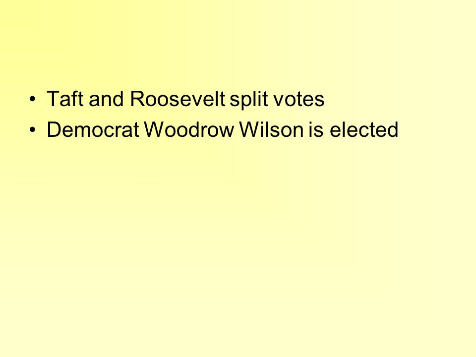 Taft and Roosevelt split votes