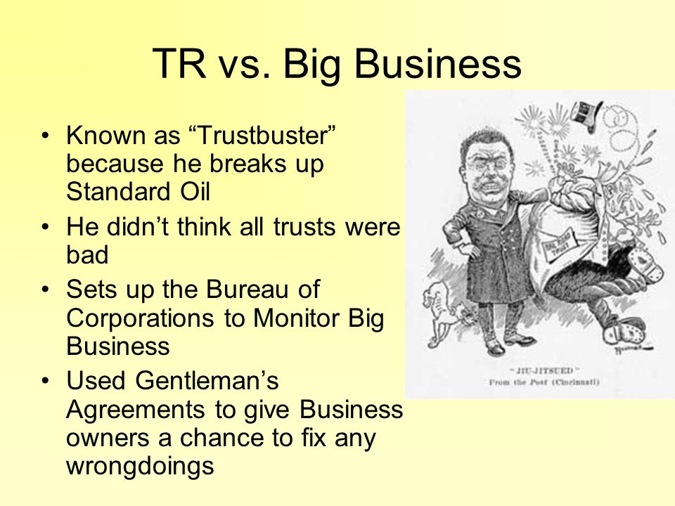 TR vs. Big Business Known as Trustbuster because he breaks up Standard Oil. He didn't think all trusts were bad.