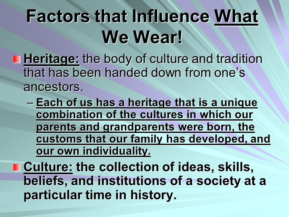 Factors that Influence What We Wear!