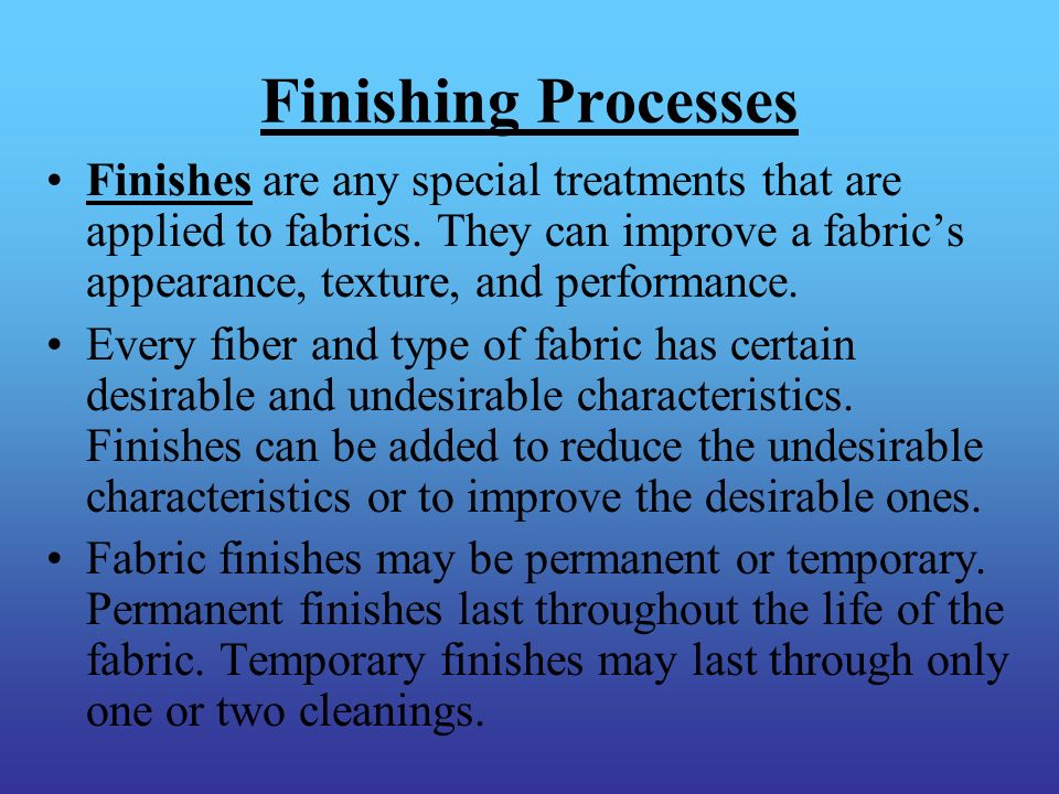 Finishing Processes
