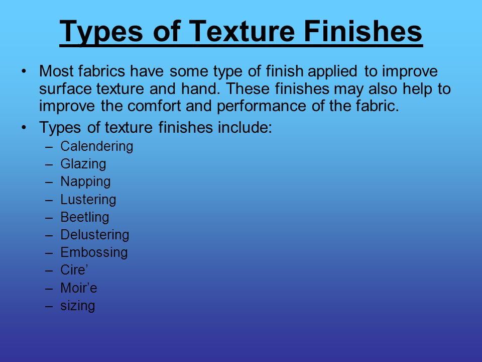 Types of Texture Finishes