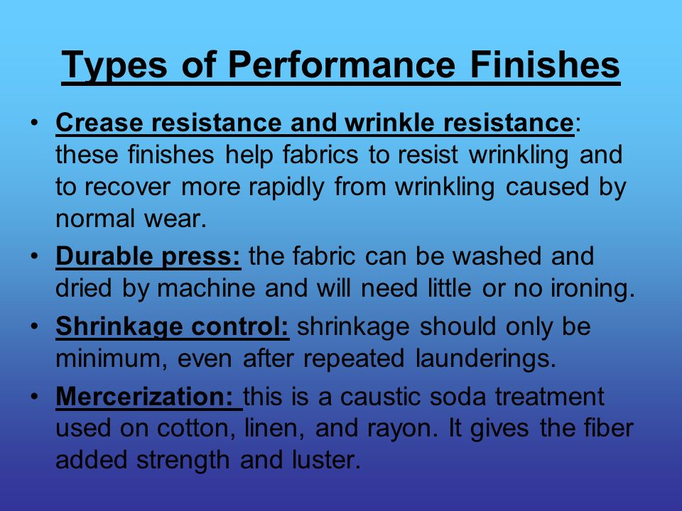 Types of Performance Finishes