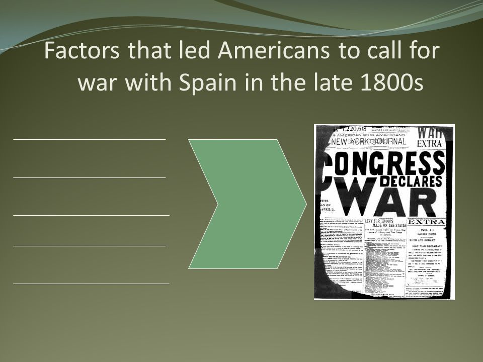 Factors that led Americans to call for war with Spain in the late 1800s
