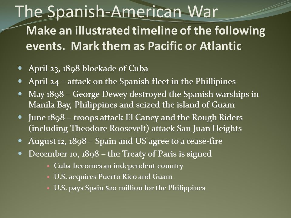 The Spanish-American War Make an illustrated timeline of the following events. Mark them as Pacific or Atlantic