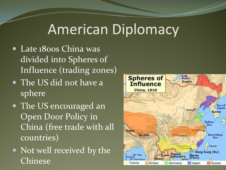 American Diplomacy Late 1800s China was divided into Spheres of Influence (trading zones) The US did not have a sphere.