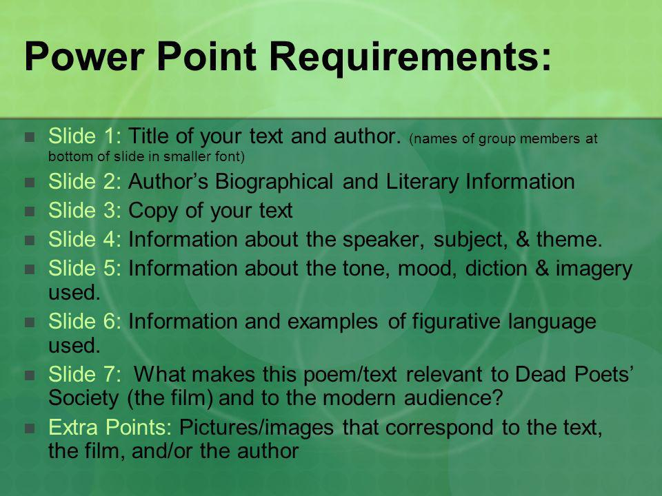 Power Point Requirements: