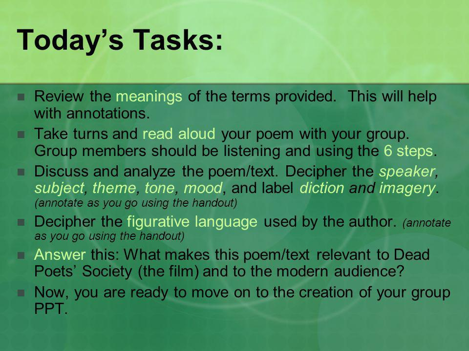 Today's Tasks: Review the meanings of the terms provided. This will help with annotations.