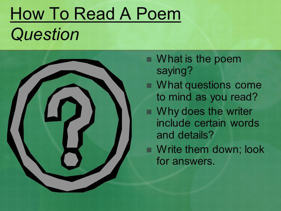 How To Read A Poem Question