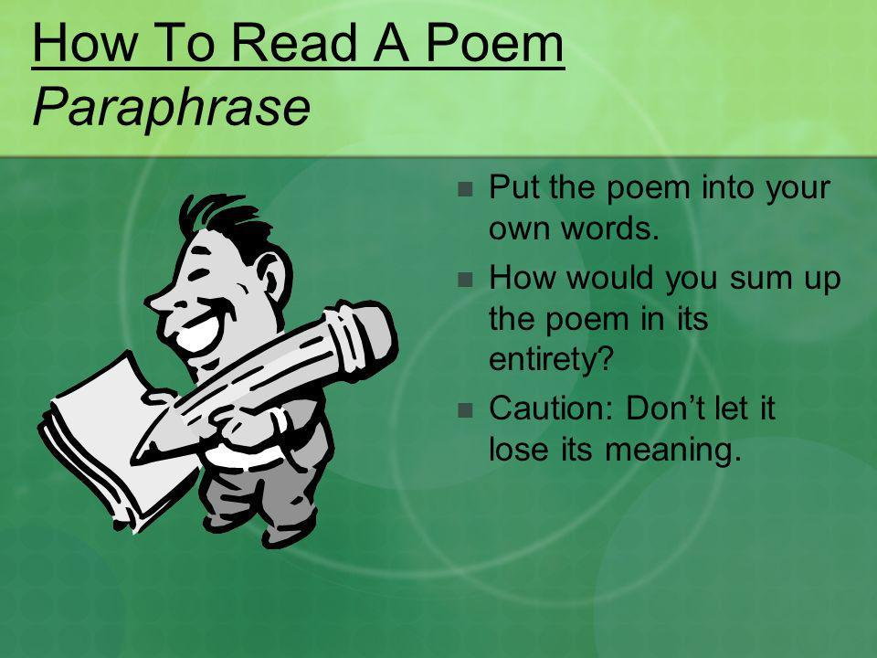 How To Read A Poem Paraphrase