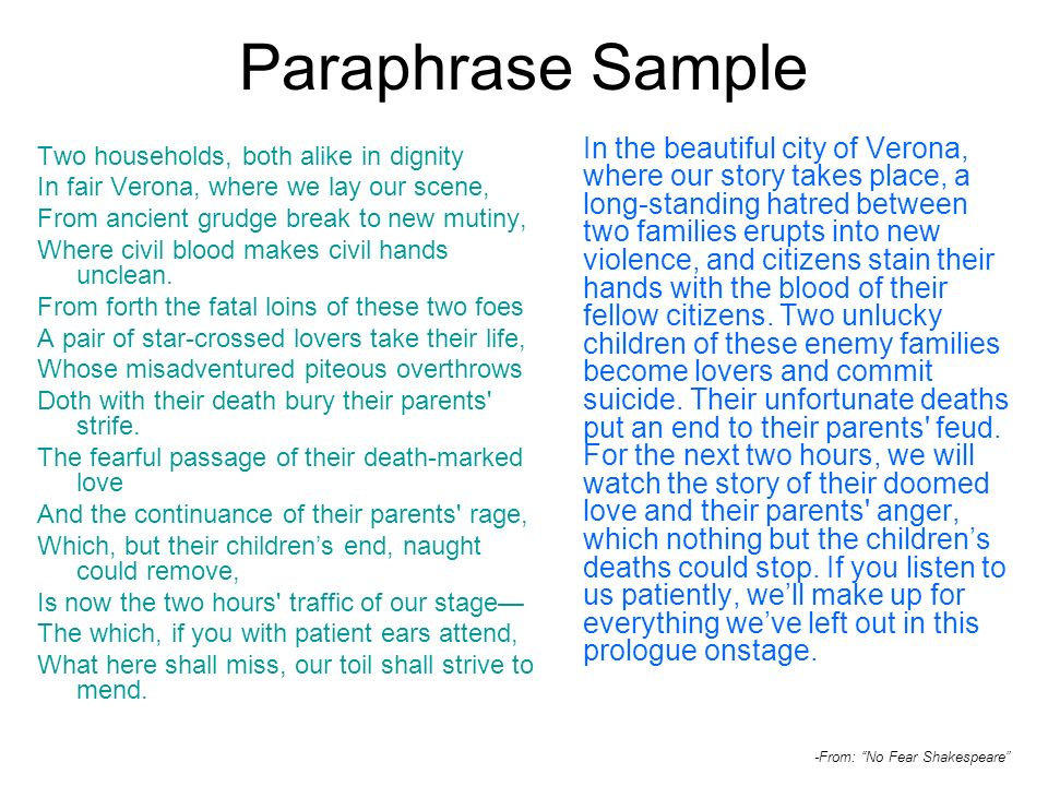 Paraphrase Sample Two households, both alike in dignity