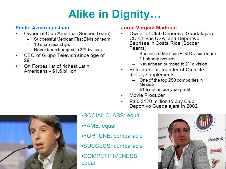 Alike in Dignity… SOCIAL CLASS: equal FAME: equal FORTUNE: comparable