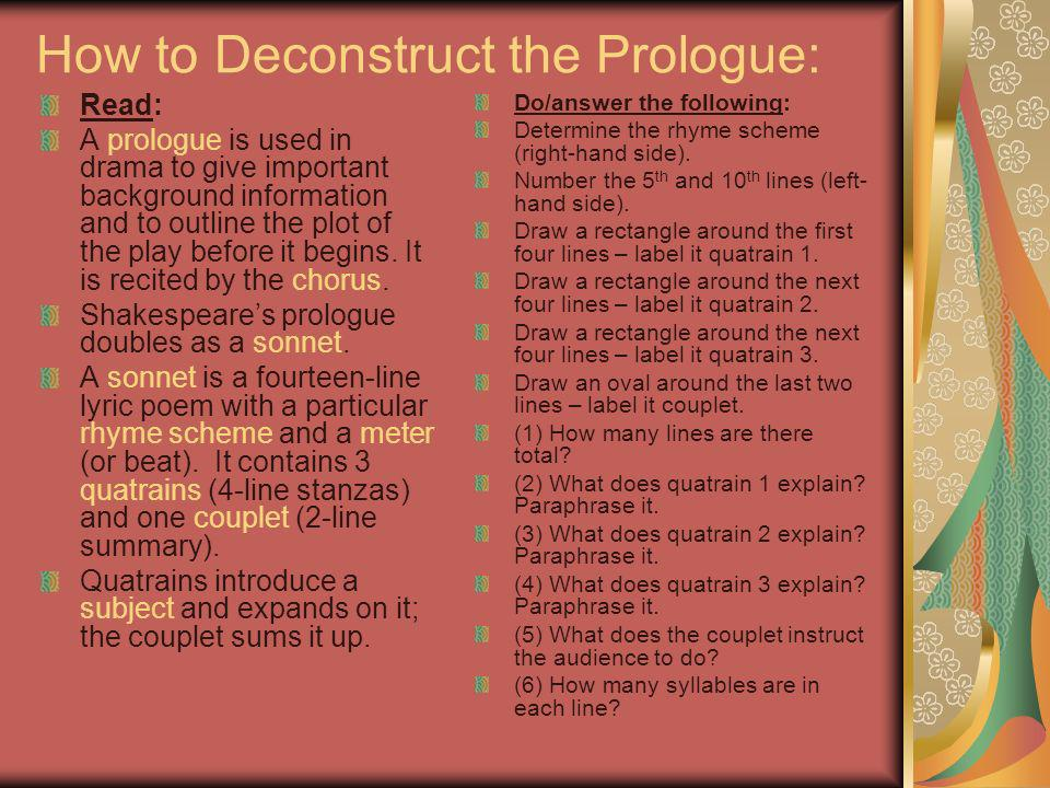 How to Deconstruct the Prologue: