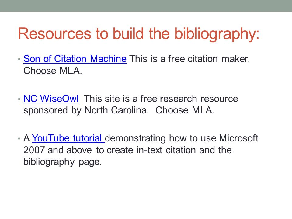 Resources to build the bibliography: