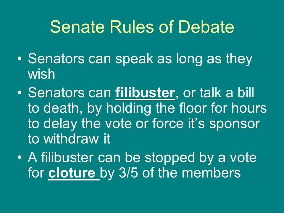 Senate Rules of Debate Senators can speak as long as they wish