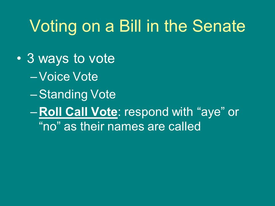 Voting on a Bill in the Senate