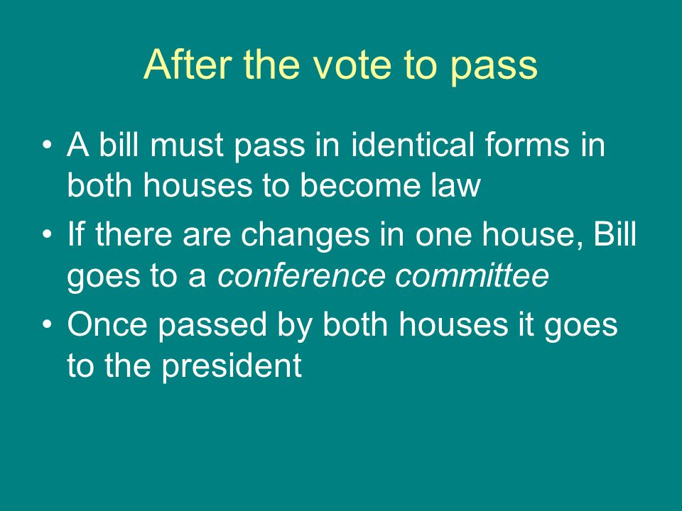 After the vote to passA bill must pass in identical forms in both houses to become law.