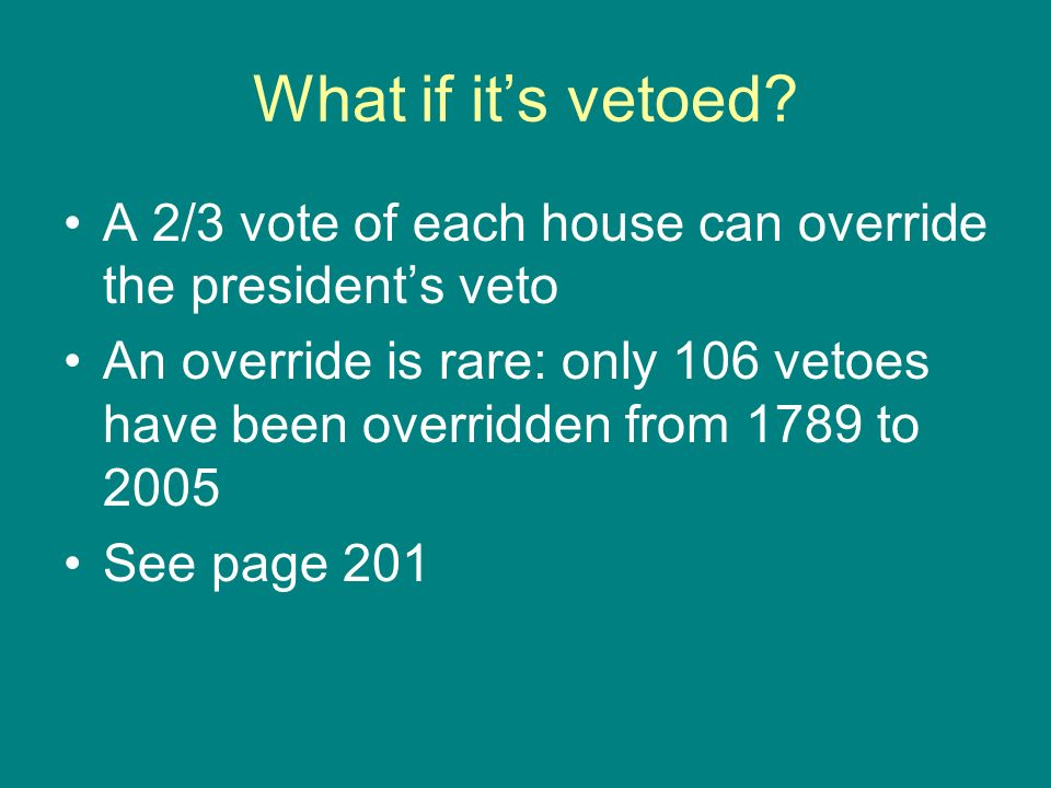 What if it's vetoed A 2/3 vote of each house can override the president's veto.