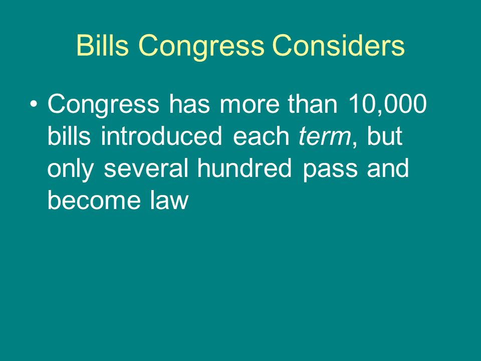 Bills Congress Considers