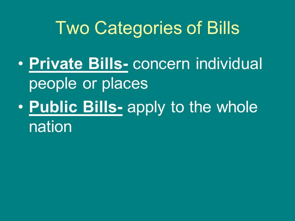 Two Categories of Bills
