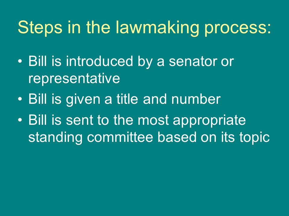 Steps in the lawmaking process: