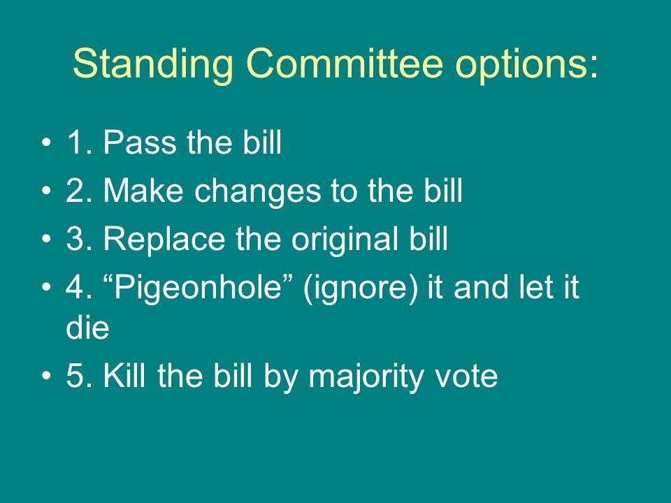 Standing Committee options: