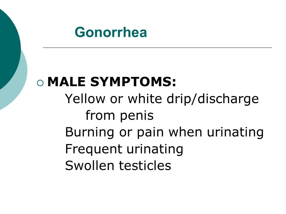 Gonorrhea MALE SYMPTOMS: Yellow or white drip/discharge from penis