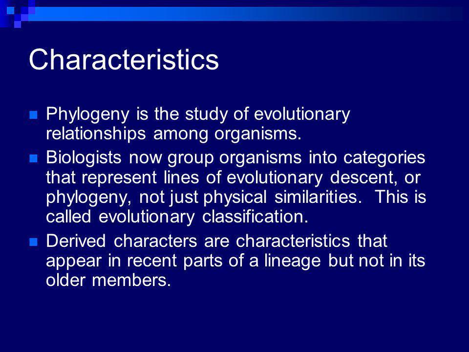 Characteristics Phylogeny is the study of evolutionary relationships among organisms.