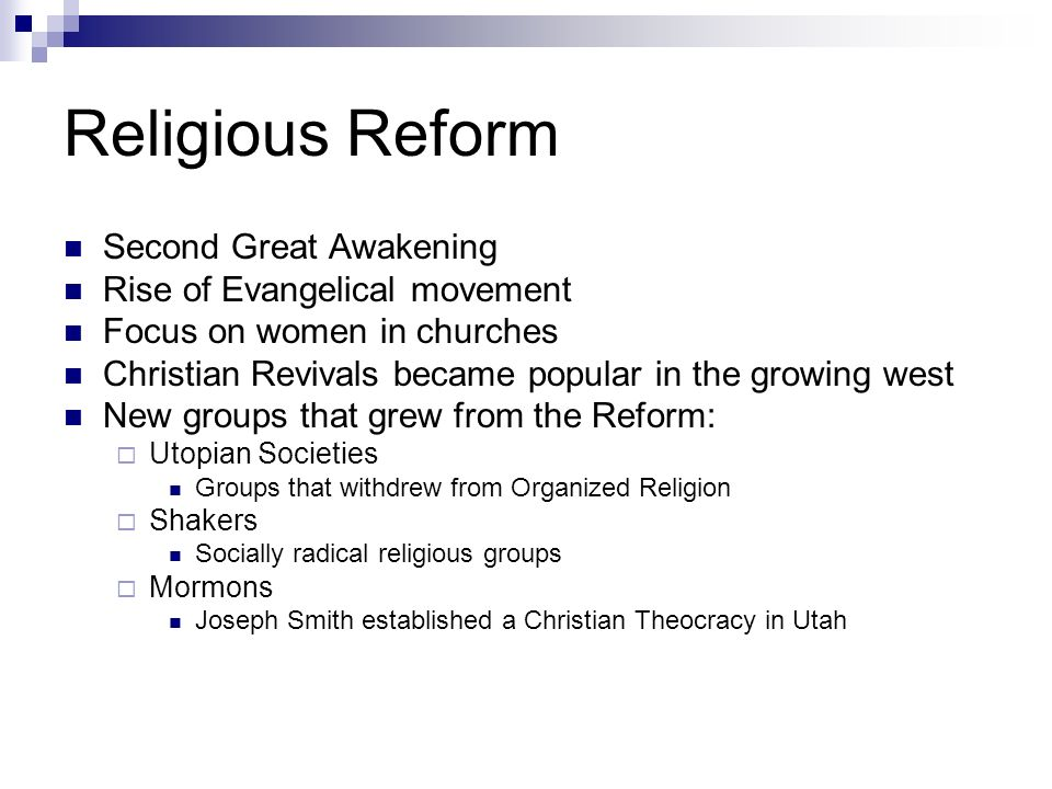 Religious Reform Second Great Awakening Rise of Evangelical movement