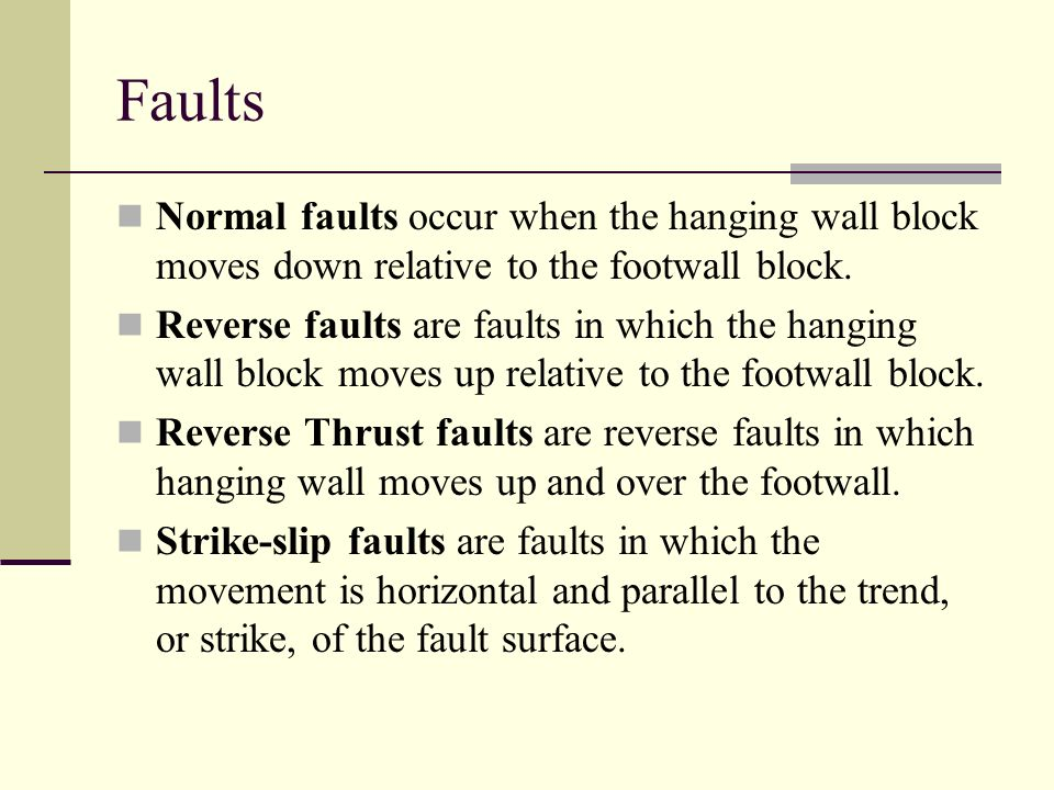 Faults Normal faults occur when the hanging wall block moves down relative to the footwall block.