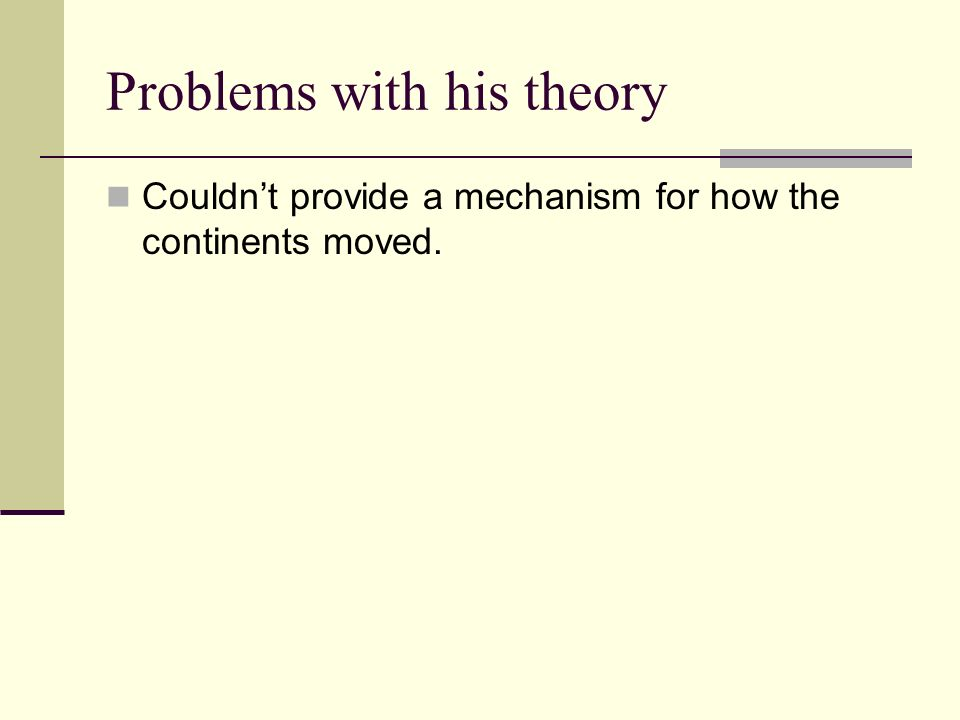 Problems with his theory